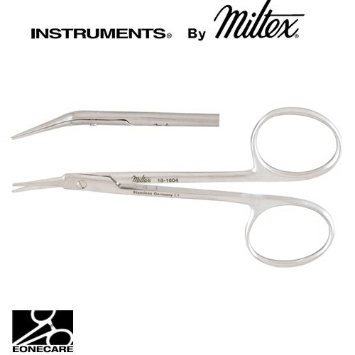 "[Miltex]밀텍스 ALBLI Corneal Scissors #18-1604 4""(10.2cm),angled on flat,leftblunt tips"