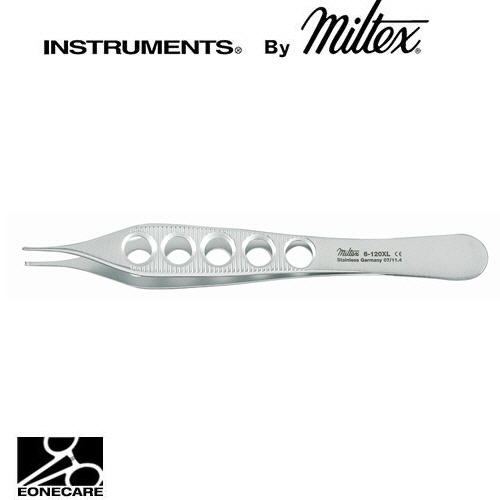 "[Miltex]밀텍스 ADSON Tissue Forceps 티슈포셉 #6-120XL 4-3/4""(12.1cm)1 x 2 teeth,delicate,lightweight fenestrated handles"