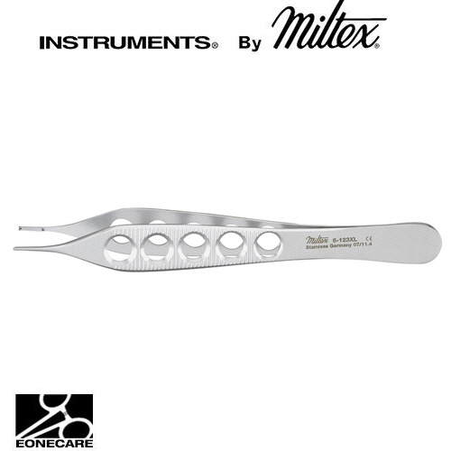 "[Miltex]밀텍스 ADSON Dressing,Tissue & Suture Forceps 티슈포셉 #6-123XL 4-3/4""(12.1cm)1 x 2 teeth,with tying platform,lightweight fenestrated handles"